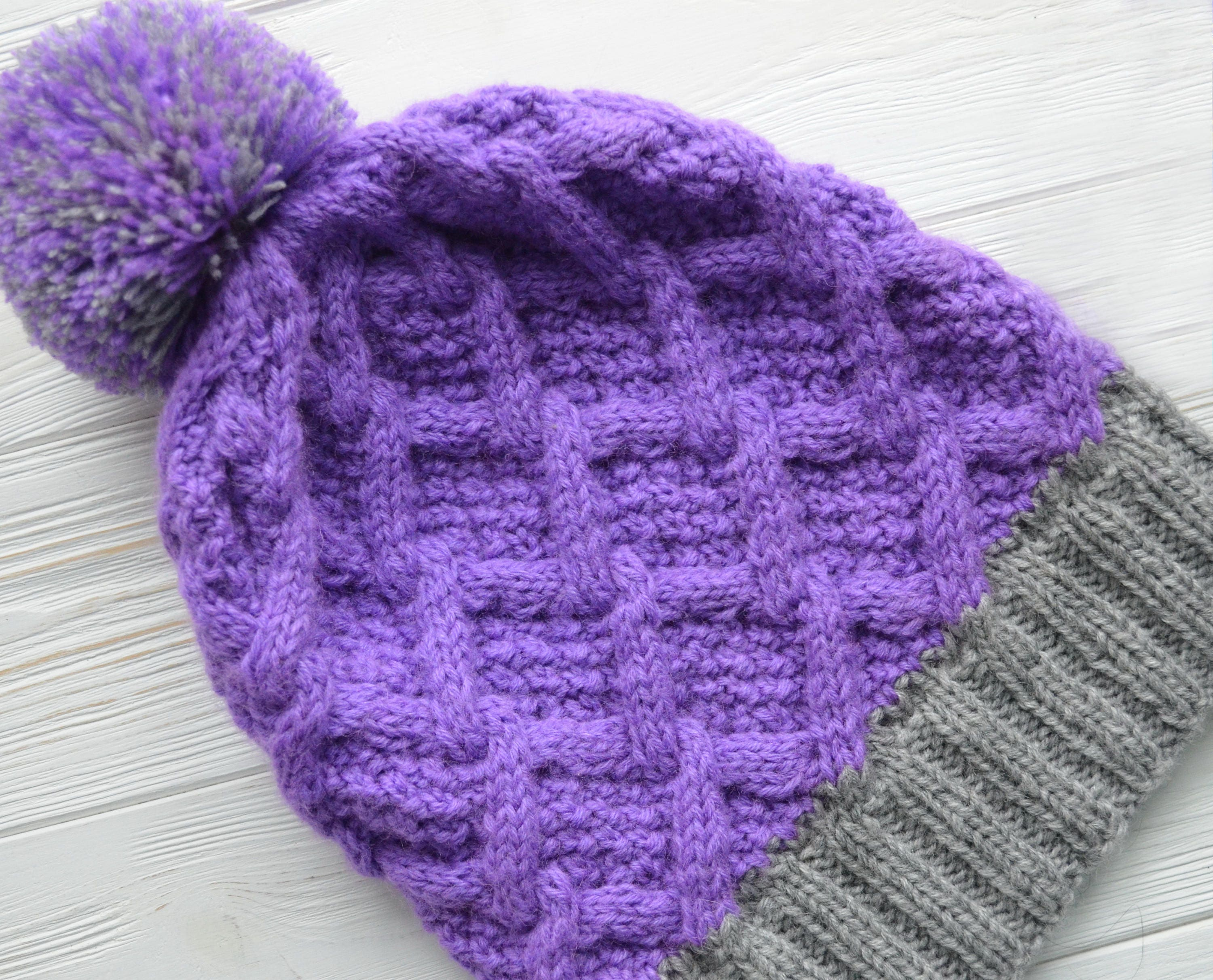 Purple knit hat Women s knitted hat Winter cable hat  514a26bee7fa