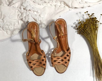 Vintage 70s Leather Slingback Heels / 1970s Retro Heels Sweetsteps Made in Brazil