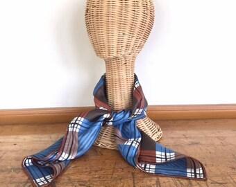 Retro blue plaid bandana / scarf