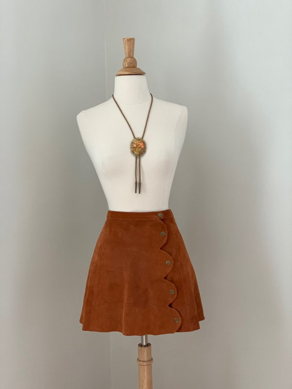 ON HOLD  Rust Suede Mini Skirt with Brass Snaps - image 6