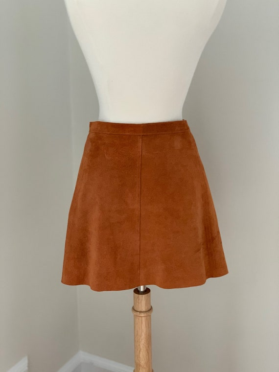 ON HOLD  Rust Suede Mini Skirt with Brass Snaps - image 4