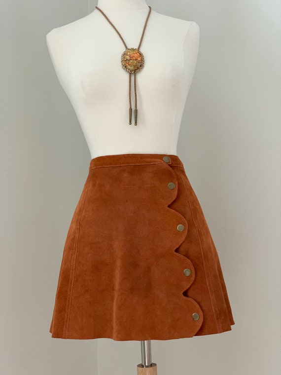 ON HOLD  Rust Suede Mini Skirt with Brass Snaps - image 5