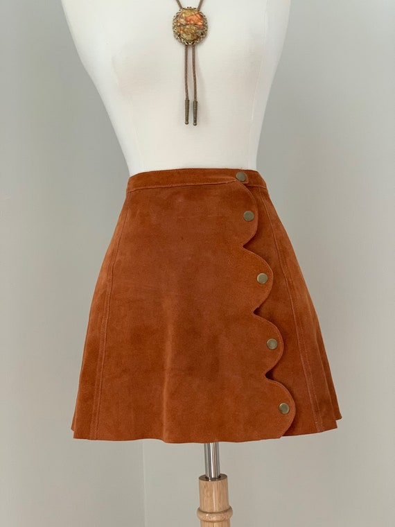 ON HOLD  Rust Suede Mini Skirt with Brass Snaps - image 2
