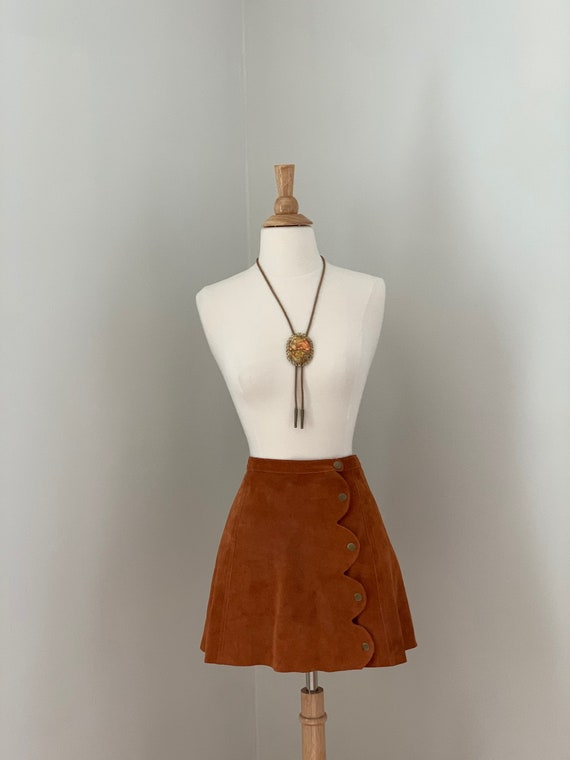 ON HOLD  Rust Suede Mini Skirt with Brass Snaps - image 3
