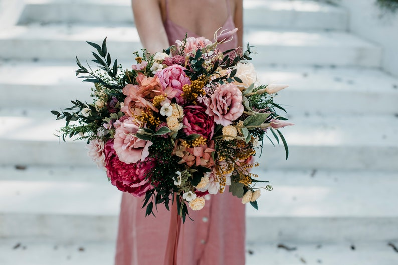 Pink yellow ivory flower bouquet  Boho floral wedding greenery bunch for bride  Wild bridal bohemian with preserved eucalyptus ZARQA
