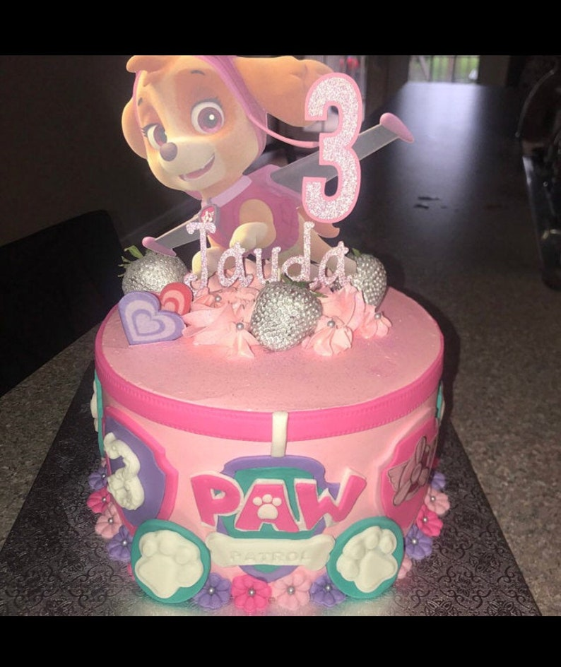 Skye Paw Patrol cake topper with name and age paw patrol ...