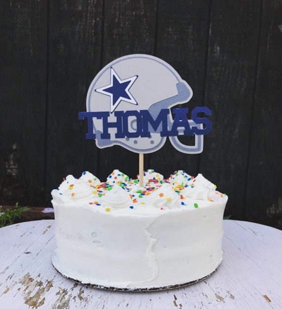 Phenomenal Dallas Cowboys Helmet Cake Topper Custom Football Party Favor With Name Helmet Party Decoration Helmet Navy And Gray Favor Download Free Architecture Designs Scobabritishbridgeorg