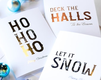 boxed set christmas cards foil christmas cards holiday gold foil christmas cards box set of christmas cards ho ho ho let it snow - Foil Christmas Cards