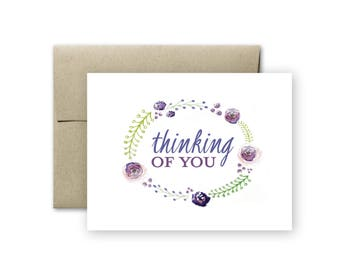Thinking of You Card - Sympathy Card - Just Because Card - Blank Card - Flower Card - Miss You Card - Greeting Card - Floral Card