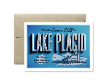 Lake Placid Card - Adirondacks Card - Blank Card - Greeting Card - Adirondack Mountains - Big Slide - Lake Placid New York