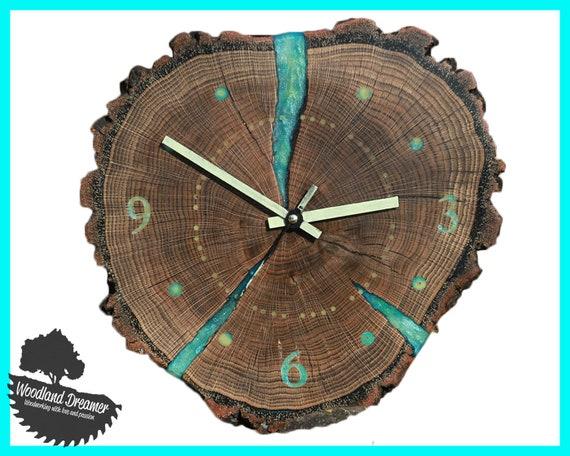 Wooden Wall Clock Unique Wall Clocks Glow In The Dark Clock Etsy