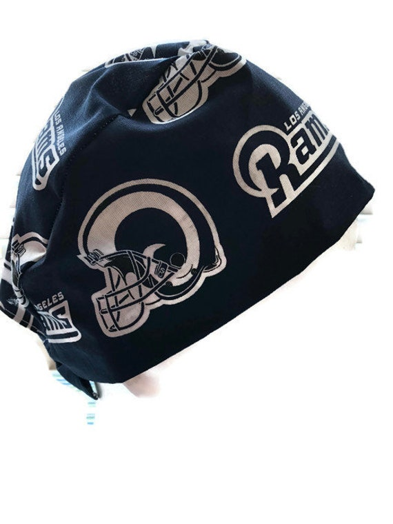 Surgical Scrub Hat Cap Made with St Louis Rams NFL Fabric Nurse Chemo ER Skull