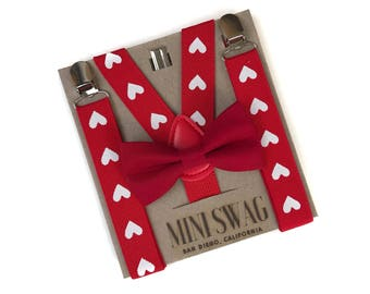 5e08ff1bbdf Red Bow Tie   Valentine Heart Suspenders--PERFECT for Kids Valentines Day