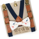 Flamingo Bow Tie & Navy Leather Suspenders --- PERFECT for Groomsmen, Ring Bearer or Page Boy Outfit, Cake Smash, 1st birthday, Summer
