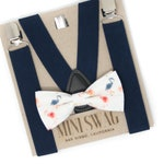 Flamingo Bow Tie & Navy Blue Suspenders --- PERFECT for a Flamingo Party, Tropical Bow Tie, Birthday Outfit, Ring Bearer, Cake Smash