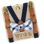 Navy and Light Blue Plaid Bow Tie & Navy Leather Suspenders --- PERFECT for Cake Smash, Boys Birthday Outfit, Ring Bearer or Page Boy