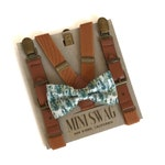 Forest Bow Tie & Leather Suspenders--Perfect for Woodland Wedding, Ring Bearer or Page Boy Outfit, Groomsmen, Boho, Rustic