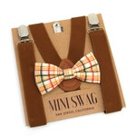 Fall Plaid Bow Tie & Coffee Brown Suspenders --- PERFECT for Ring Bearer Outfit, Groomsmen, Wedding, Thanksgiving, Baby - Mens Sizes