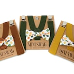 Boys Fall Pumpkin Bow Tie & Suspenders Sets --- PERFECT for Family Pictures, Thanksgiving Outfit, Baby Boy Gift, Mustard, Moss, Brown