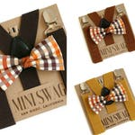 Brown Plaid Bow Tie and Suspenders, Baby, Toddler, Mens, Cake Smash Outfit, Thanksgiving Outfit, Fall Boys, Mustard Yellow, Burnt Orange