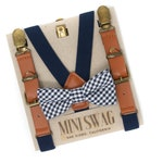 Navy Gingham Bow Tie & Navy Leather Suspenders --- PERFECT for Cake Smash, Ring Bearer or Page Boy Outfit, Boys Birthday, Summer Photos