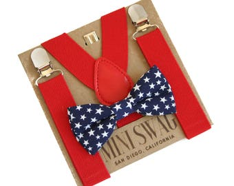 311a4b7e8 Navy Stars Bow Tie   Red Suspenders --- PERFECT for Patriotic or 4th of  July Outfit