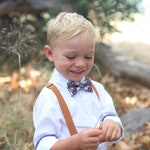 Dark Burgundy Floral Bow Tie & Camel Leather Suspenders --- PERFECT for Ring Bearer or Page Boy Outfit, Groomsmen, Fall Wedding