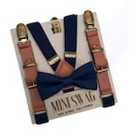 Navy Blue Bow Tie & Navy Leather Suspenders--- PERFECT for Ring Bearer Outfit, Navy Wedding, Page Boy Outfit,Boys birthday  Outfit, Boy Gift