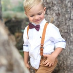 Marsala Bow Tie & Camel Leather Suspenders--PERFECT for Boys Ring Bearer Outfit, Wedding, Groomsmen, Wine, Maroon