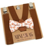 Gingerbread Bow Tie & Brown Suspenders --- Perfect for Christmas Outfit, Holiday Party, 1st Birthday, Candy Cane, Baby, Toddler, Mens Sizes
