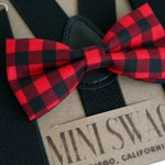 Buffalo Plaid Bow Tie, Boys Valentine's Outfit, Toddler Suspenders Black, Outfits for Boys, Valentine's Bow Tie, Baby Bowtie Suspenders