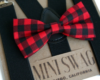 a5e0abd1efa Buffalo Plaid Bow Tie, Boys Valentine's Outfit, Toddler Suspenders Black,  Outfits for Boys, Valentine's Bow Tie, Baby Bowtie Suspenders