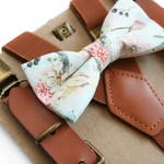 Boho Floral Bow Tie With Leather Suspenders--Perfect For Boho Wedding, Ring Bearer, Spring Event, Mother's Day, Easter, Cake Smash, birthday