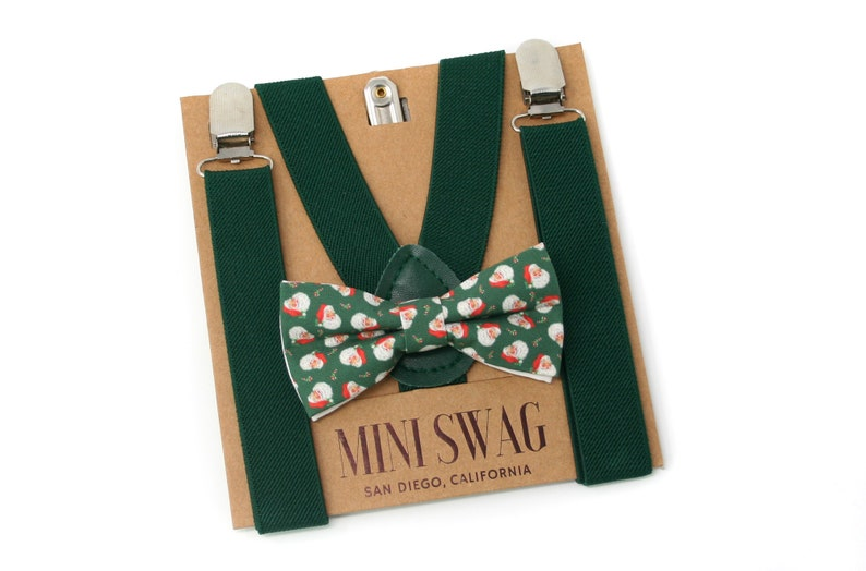 Vintage Santa Christmas Bow Tie and Green Suspenders  image 0