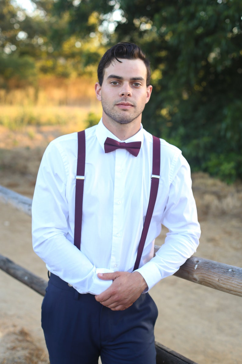 Marsala Bow Tie And SuspendersPERFECT for a Ring Bearer image 0