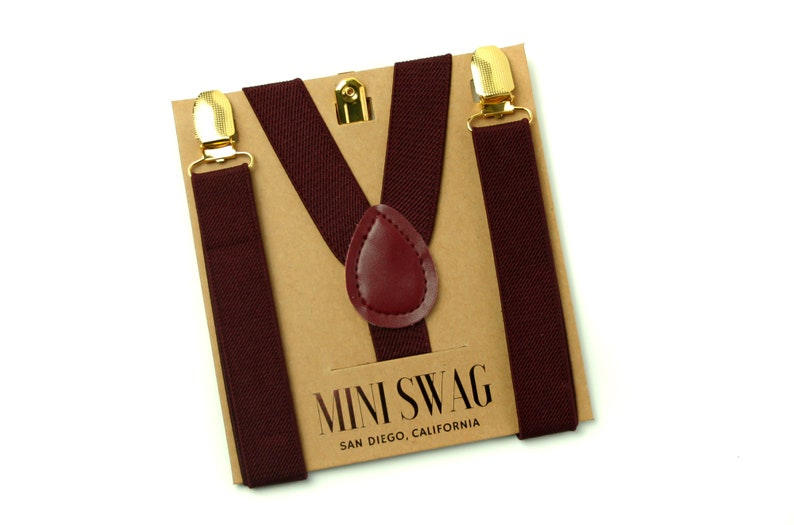Dark Burgundy Suspenders with Gold Clips  PERFECT for Ring image 0
