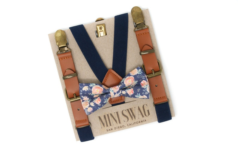 Steel Blue Floral Bow Tie or Skinny Necktie  PERFECT for image 0