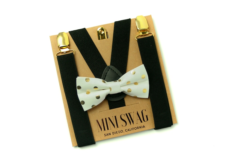 White & Gold Dot Bow Tie  Black Suspenders with Gold Clips image 0