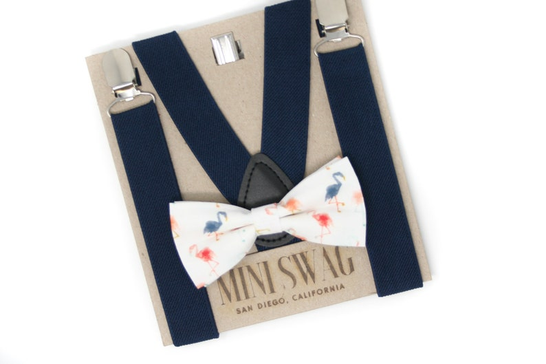 Flamingo Bow Tie & Navy Blue Suspenders  PERFECT for a image 0