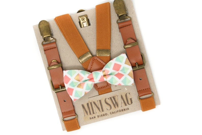 Coral Aqua Gold Bow Tie & Camel Leather Suspenders  image 0