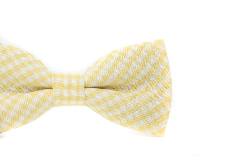Yellow Gingham Plaid Bow Tie  PERFECT for Ring Bearer or image 0