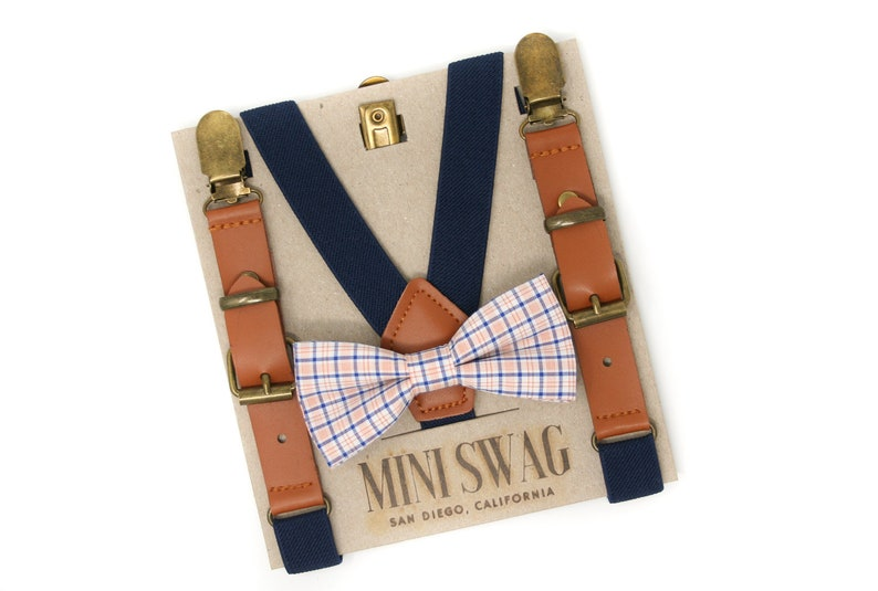 Navy and Orange Plaid Bow Tie and Navy Leather Suspenders  image 0