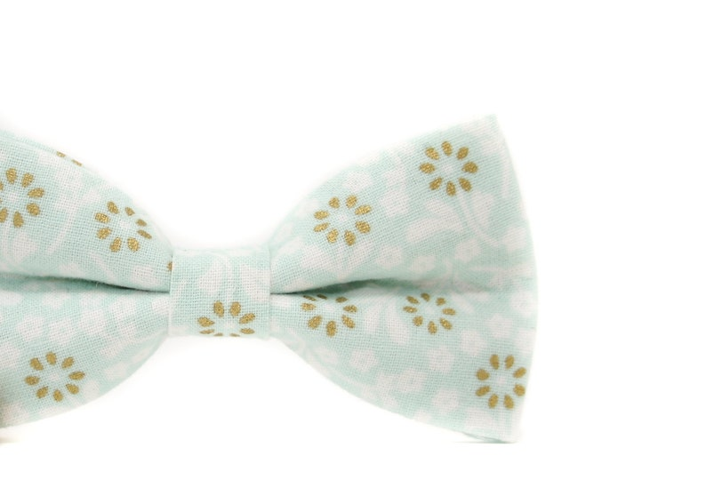 Mint and Gold Floral Bow Tie  PERFECT for Ring Bearer or image 0