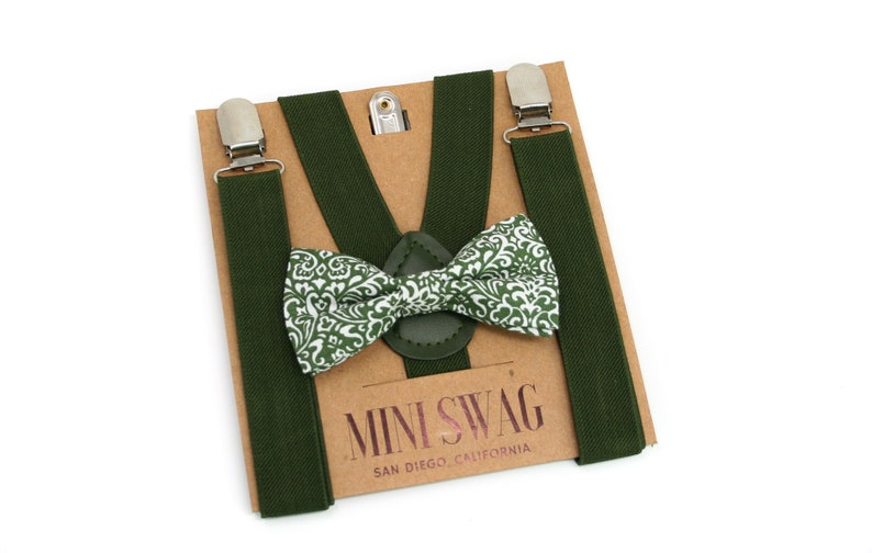 Moss Green Floral Bow Tie & Suspenders  PERFECT for Ring image 0