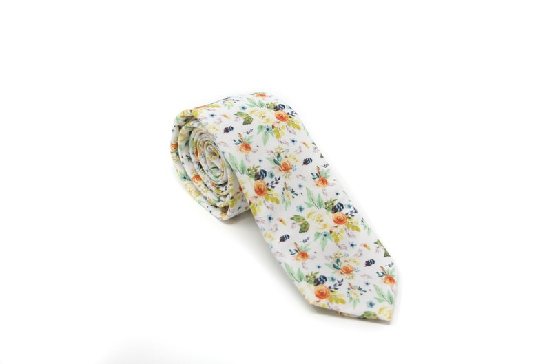White Floral Bow Tie or Skinny NecktiePERFECT for Ring image 0