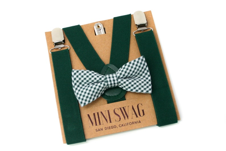 Green Gingham Bow Tie and SuspendersPERFECT for Christmas image 0