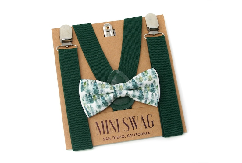 Forest Bow Tie & Green Suspenders  Perfect for Woodland image 0