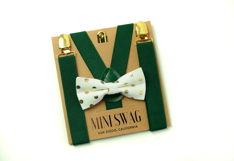 Gold & White Dot Bow Tie  Green Suspenders with Gold Clips image 0