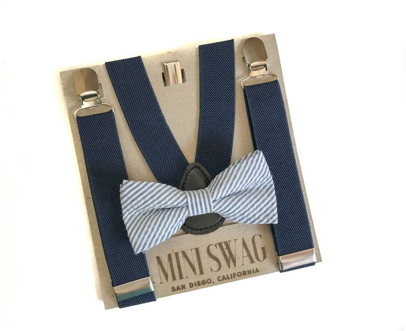 2a3c7803315 Navy Blue Seersucker Bow Tie   Suspenders Perfect for Ring