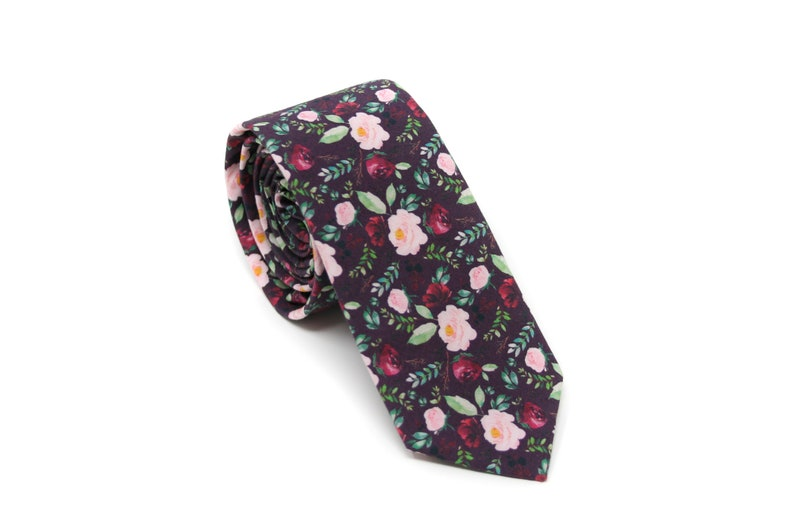 Marsala Burgundy Floral Bow Tie or Necktie  PERFECT for Ring image 0